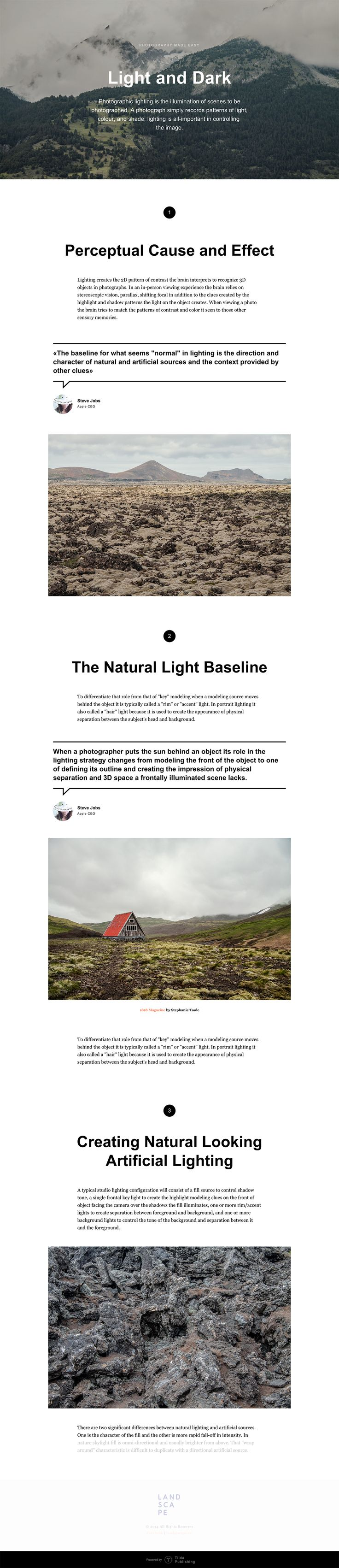A website template for longread. Numbered paragraphs, direct speech, great fullscreen cover.