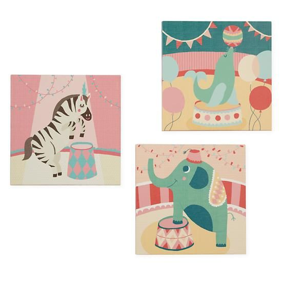 Kids Wall Art: Circus Seal Artwork in Canvas Wall Art | The Land of Nod