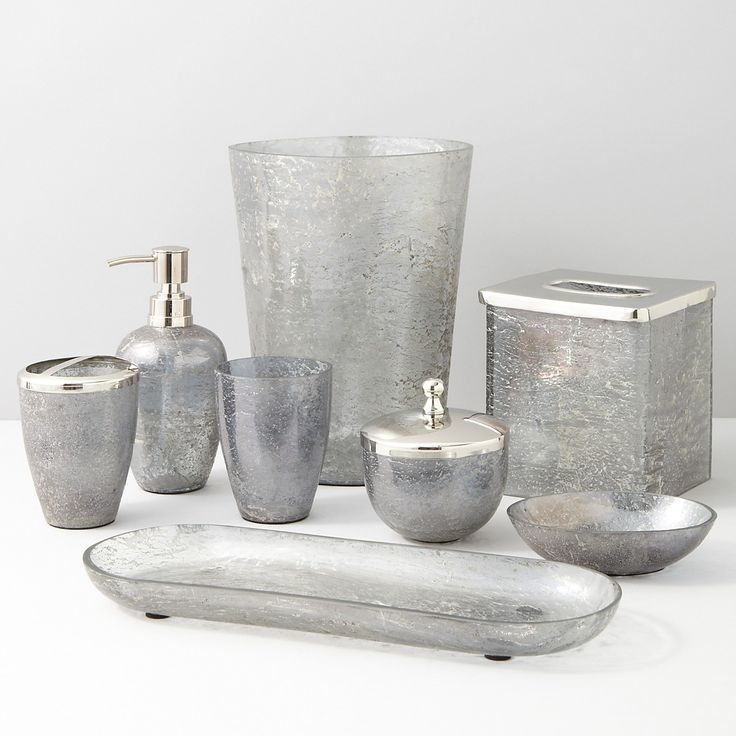 17 best images about bath accessories on pinterest for Grey silver bathroom accessories