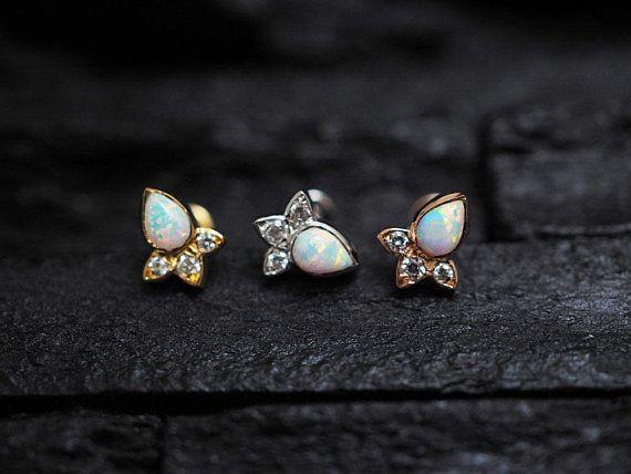 Lady Argent Blanc Bijoux Fashion Oreille Cartilage Boucles d/'oreilles Opal Stone Ear Stud