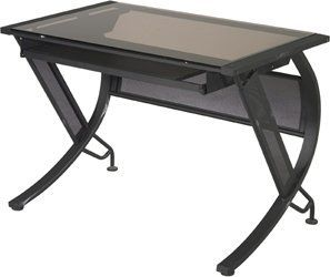 Horizon Computer Desk [Kitchen] # HZN25 by OSP Designs. $267.30. OSP Designs Horizon Computer Desk Desk with Keyboard Tray Bronze Tempered Glass Top Black Textured Powder Coated Frame # HZN25
