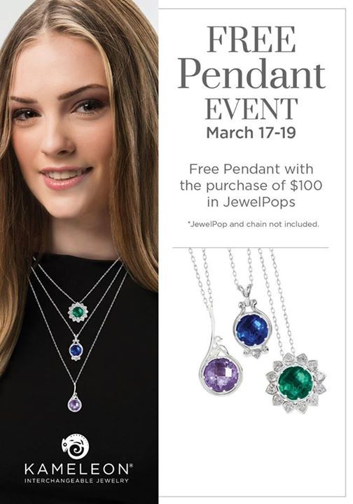 Get a FREE Pendant March17-19 with your $100 purchase of Jewelpops!! #pearhome #orangeville #kameleon