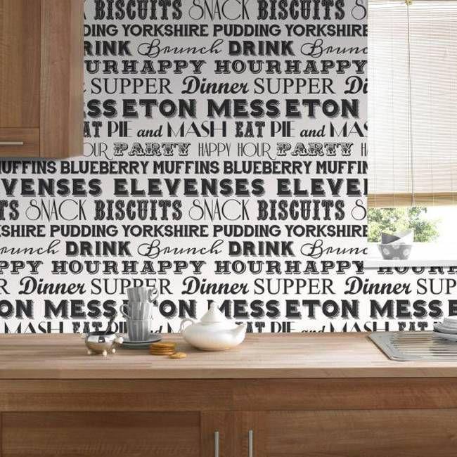 Kuchnia z tapetą z napisami. Odważna, rzucająca się w oczy kompozycja. #design #urządzanie #urząrzaniewnętrz #urządzaniewnętrza #inspiracja #inspiracje #dekoracja #dekoracje #dom #mieszkanie #pokój #aranżacje #aranżacja #aranżacjewnętrz #aranżacjawnętrz #aranżowanie #aranżowaniewnętrz #ozdoby #motto #cytat #cytaty #kuchnia #kuchnie