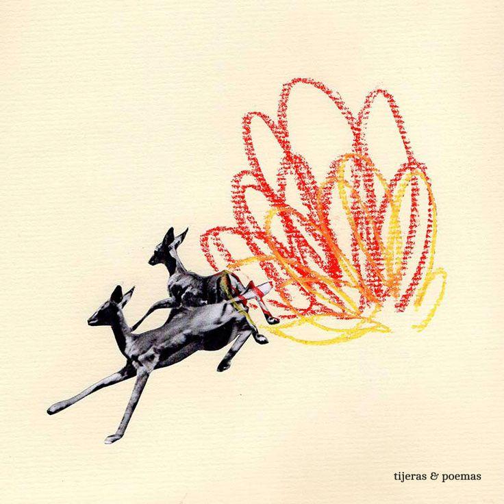"""Collage """"Incendio"""" by Tijeras y Poemas (Ana Lorente).  #collage #tijerasypoemas"""