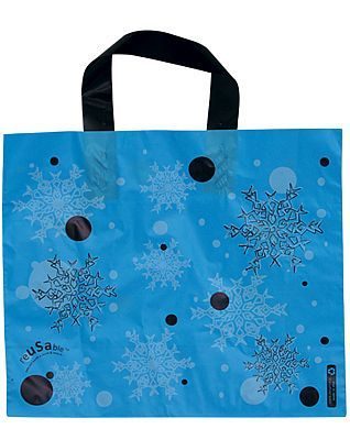 Our plastic bags with loop handles offer strength and durability with a wonderful design choice. This shiny plastic bag is also 100% recyclable.