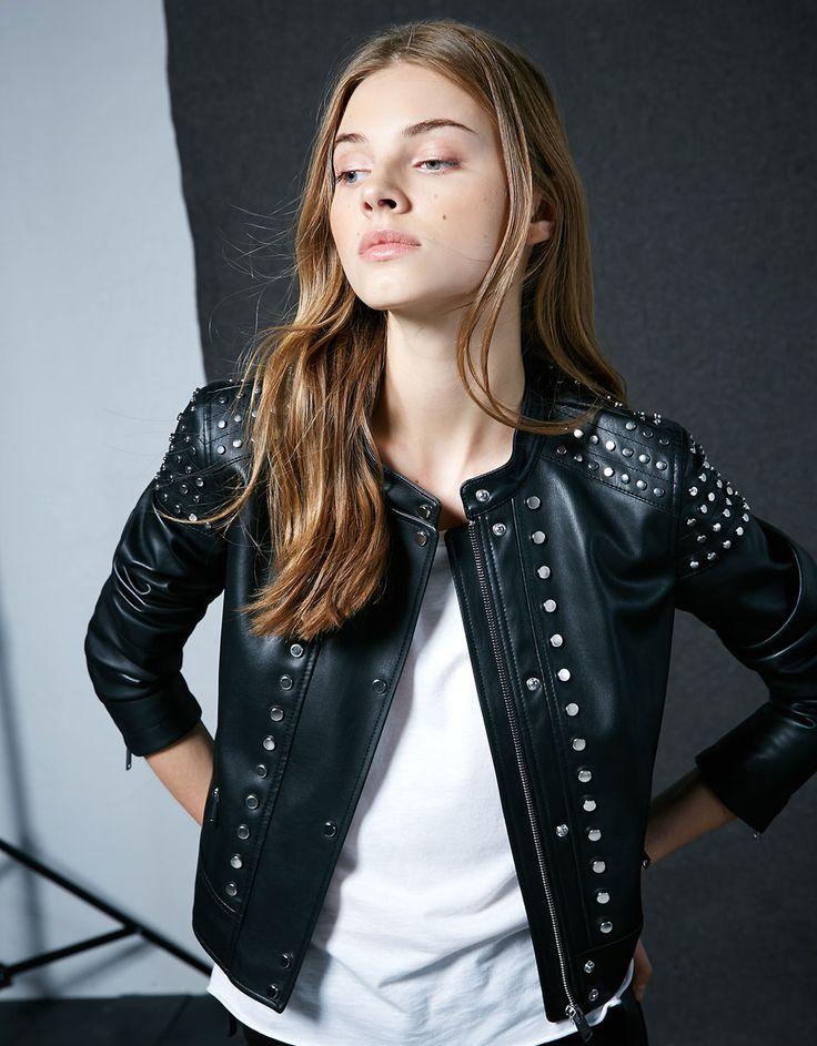Studded imitation leather jacket - Jackets - Bershka Spain