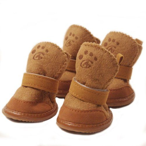 Cute Pet Paw Snow Boots for Dogs Nonslip Winter Pet Boots 4 Pcs (Brown, 1) - http://www.thepuppy.org/cute-pet-paw-snow-boots-for-dogs-nonslip-winter-pet-boots-4-pcs-brown-1/