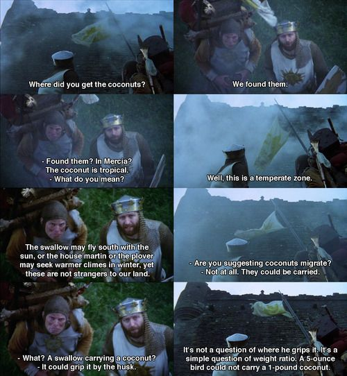 Best. Thing. Ever. Now this is the best part of the movie, i quote it everyday! Monty python and the holy grail.