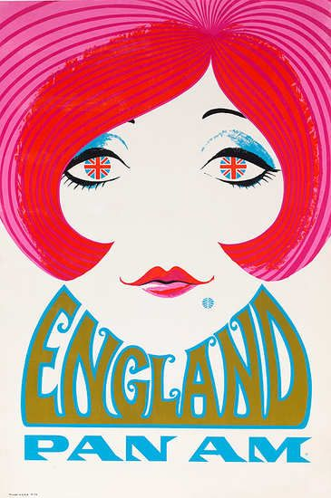 Visit England, Pan Am, 1960s.