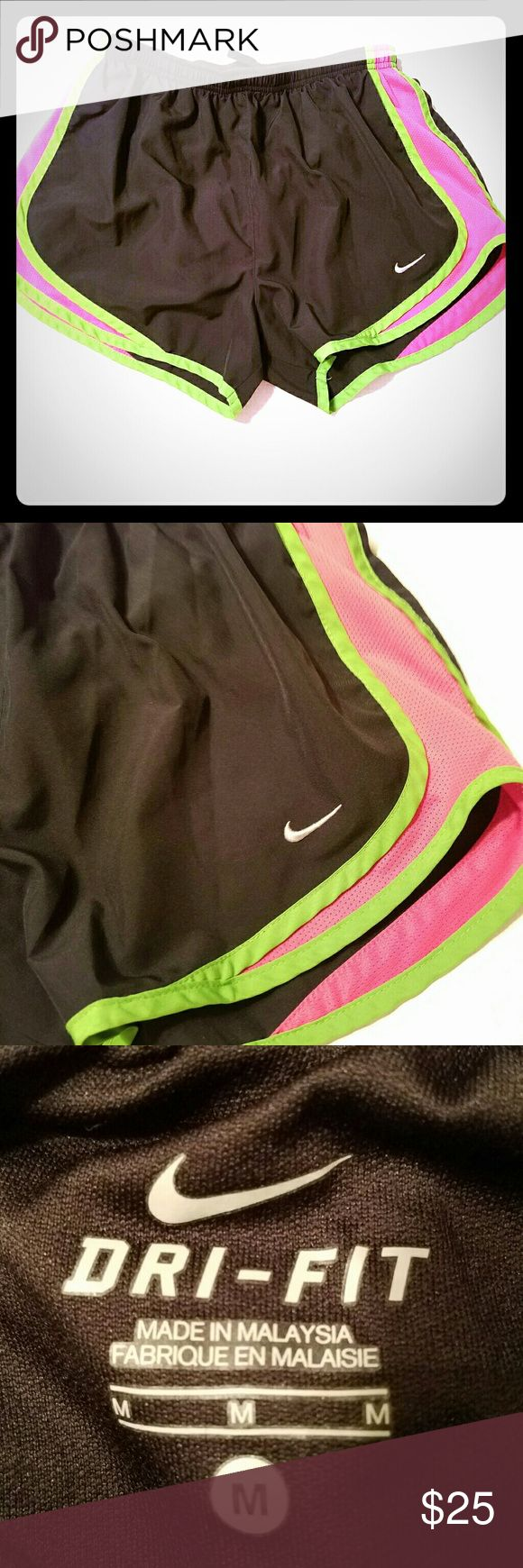 Size Medium Nike Dri Fit Tempo Shorts Nike Tempo shorts lined  Black, Hot Pink and green  Size Medium Nike Tempo  Shorts