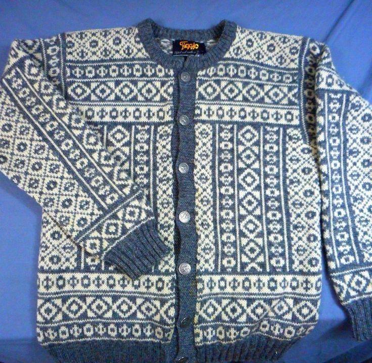 Vtg Sweater  Figgjo Cardigan, Moose Buttons Nordic Geometric Knit Pure New Wool #Figgjo #Cardigan