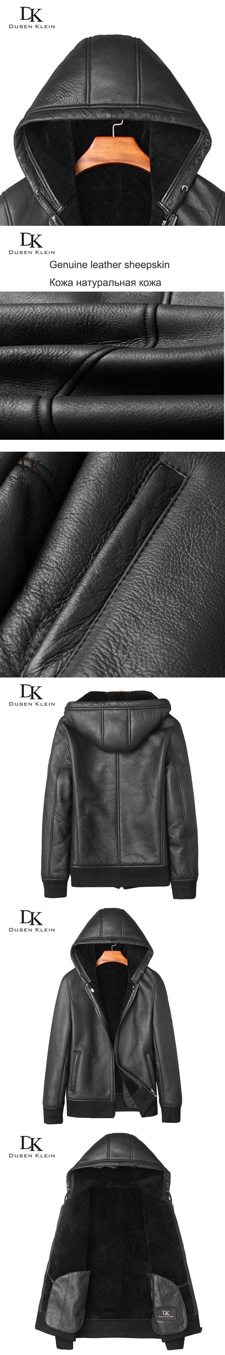 Winter Leather coats short Men Hooded wool shearling cloth Dusen Klein 2017 Nature sheepskin Luxury warm leather coat 71E1731