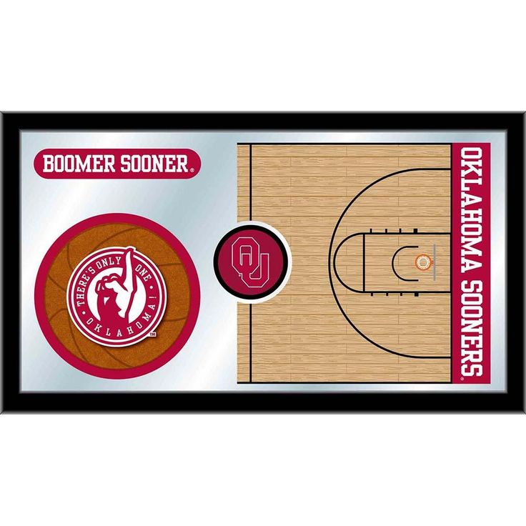 Oklahoma Sooners Basketball Court Mirror Wall Art