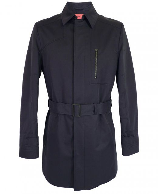 Hugo Boss Coat by HUGO Black polyester blend with cotton Cape collar and front yoke Concealed front zip closure One chest zip pocket and two side pockets 65% Poly / 53% Cotton Do not wash £329.95