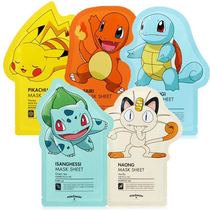 ZANABILI Korea Pokemon Mask Sheet 5pcs Pokemon Edition Face Mask Facial Skin Care Whitening Acne Remove Blackhead Acne #Affiliate
