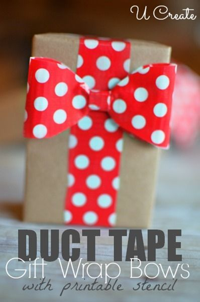 Duct Tape Gift Wrap Bows at u-createcrafts.com