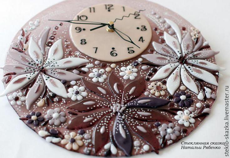 Купить Часы настенные Нежность лета - сиреневый, Фьюзинг, наталья рябенко, часы, часы настенные