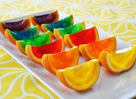 rainbow jello orange wedges..how cool would that look on a table