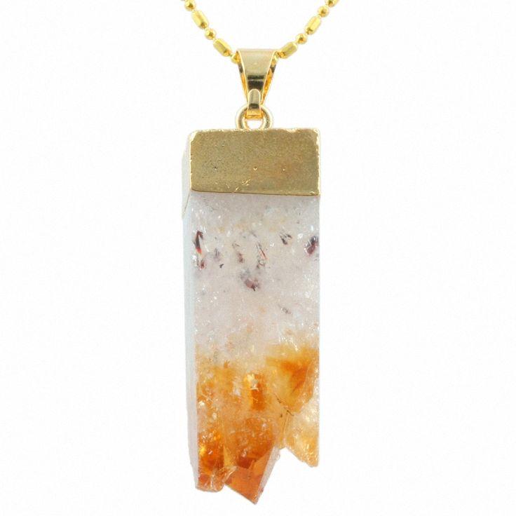 1 шт. природный желтый цитрин кварц Drusy кластера драгоценного камня кубического золотой кулон ( в комплекте )купить в магазине xiaotong L's store наAliExpress