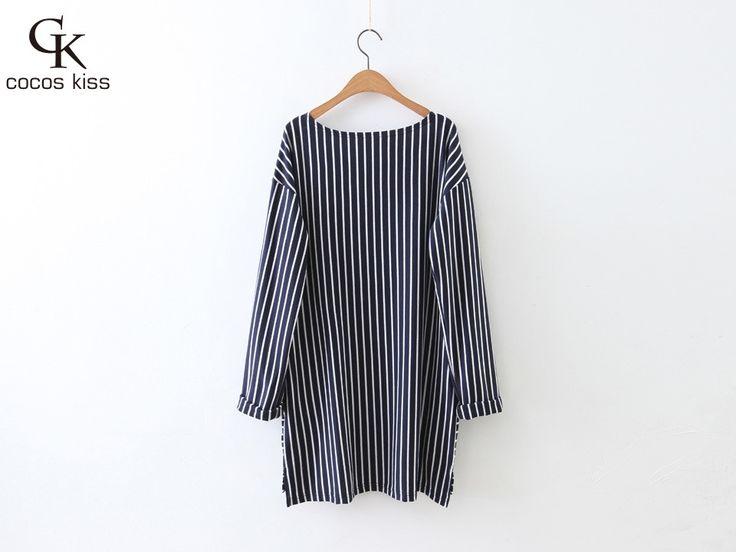 New Fashion Style Woman Stripe Loose Type T-shirt All-match Long T-shirt