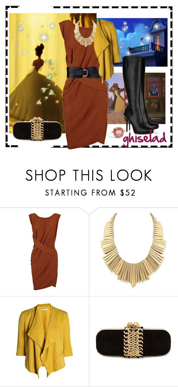 """""""TIANA!!!!"""" by ghiselad ❤ liked on Polyvore featuring Disney, Narciso Rodriguez, Christian Louboutin, Belle Noel by Kim Kardashian, SELECTED, Alexander McQueen and Nikki Baker"""