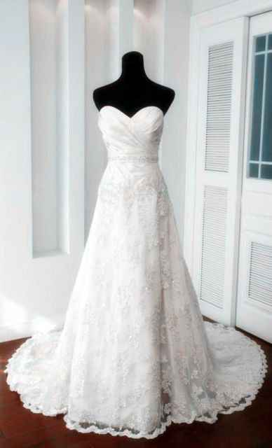 Would like something on the shoulders, but like the lace, the skirt, and the trim - Fantastic Vintage A-line Sweetheart Neckline Court Train Lace Wedding Dress