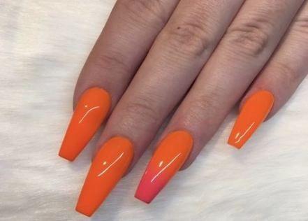 12 ideas bright orange nails with diamonds in 2020