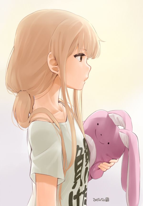 1girl blonde_hair clothes_writing dated from_side futaba_anzu hair_over_shoulder idolmaster idolmaster_cinderella_girls low_twintails nagian profile solo stuffed_animal stuffed_bunny stuffed_toy t-shirt twintails you_work_you_lose