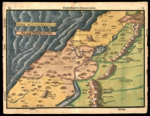 Beschreibung des Heiligen Landes (Description of the Holy Land) Heinrich Bünting (1545 - 1606) Year: 1585 d. C. This map in woodcut shows the Holy Land, according to its appearance in the life of Jesus, divided into Galilee, Samaria and Judea. The map appeared in Heinerrich Bünting's Itinerarium Sacrae Scripturae (Book of Sacred Scripture) (1545-1606).