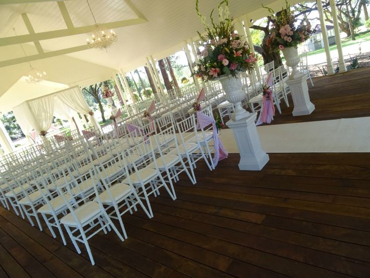 Elegant pink and white vintage wedding ceremony undercover of the Pavilion at Gabbinbar homestead