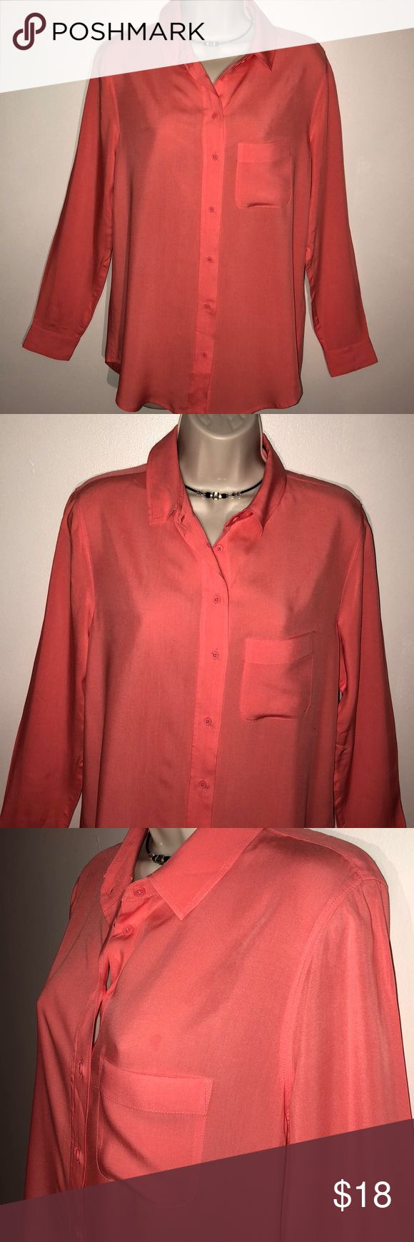 🆕 BANANA REPUBLIC LONG SLEEVED RAYON CORAL BLOUSE Banana Republic Small Button Down Blouse➖Coral color with Matching Coral Buttons➖Longer Style➖Would look nice tucked in or worn out➖Never Worn Banana Republic Tops Button Down Shirts
