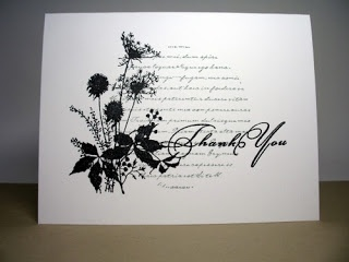 handmade card fromThe Inky Daisy ... one layer .... black and white ... stamps in order: round with script; wildflowers silhouette; and Thank You ... fills the card beautifully ...
