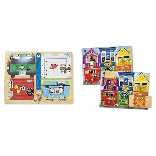 Melissa & Doug Locks & Latches Board and Deluxe Latches Board Bundle...