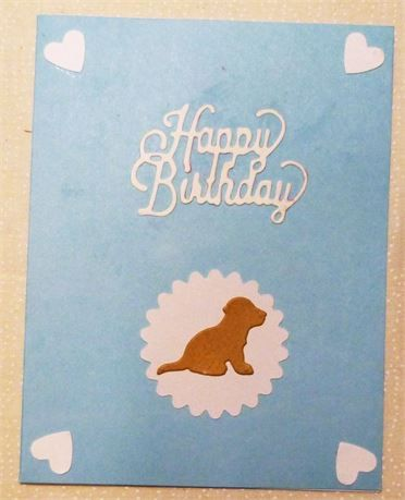 Happy Birthday Card, Blue with Puppy, Measures 4.25 x 5.5, USA Made,   Click the picture to enlarge it.   This is a very cute card for a boy or even a pet,   It is a Happy Birthday Card and measures 4.25x5.5 and comes with an envelope in a clear vinal sleeve   Card is blank inside so you can add your own personal greeting.   *********************************************   If you would like this card sent to a 3rd party just let me know what you want me to put inside and the address it goes…
