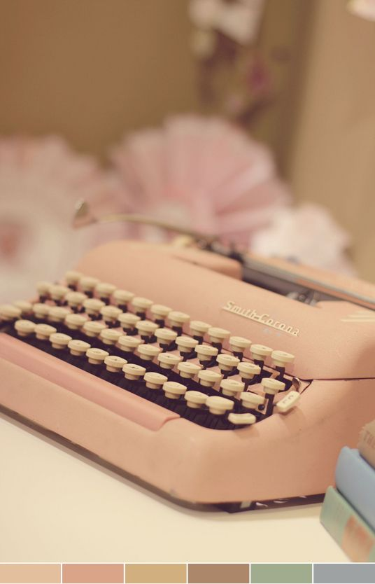 dusty roseVintage Pink, Pale Pink, Vintage Typewriters, Pink Typewriters, Colors Schemes, Blushes, Guestbook, Guest Book, Colours Palettes