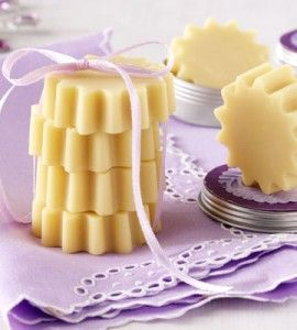 DIY solid lotion bars - 2 oz. shea butter  2 oz. cocoa butter  4 oz. grape seed oil  4 oz. beeswax  2 Tbsp. lavender essential oil (or other essential oil)  Flexible silicone mold   Directions are on the page!  =)