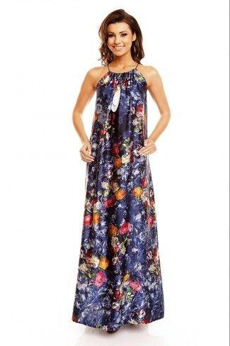 Ριχτό φλοράλ μάξι φόρεμα - Σκούρο Μπλε