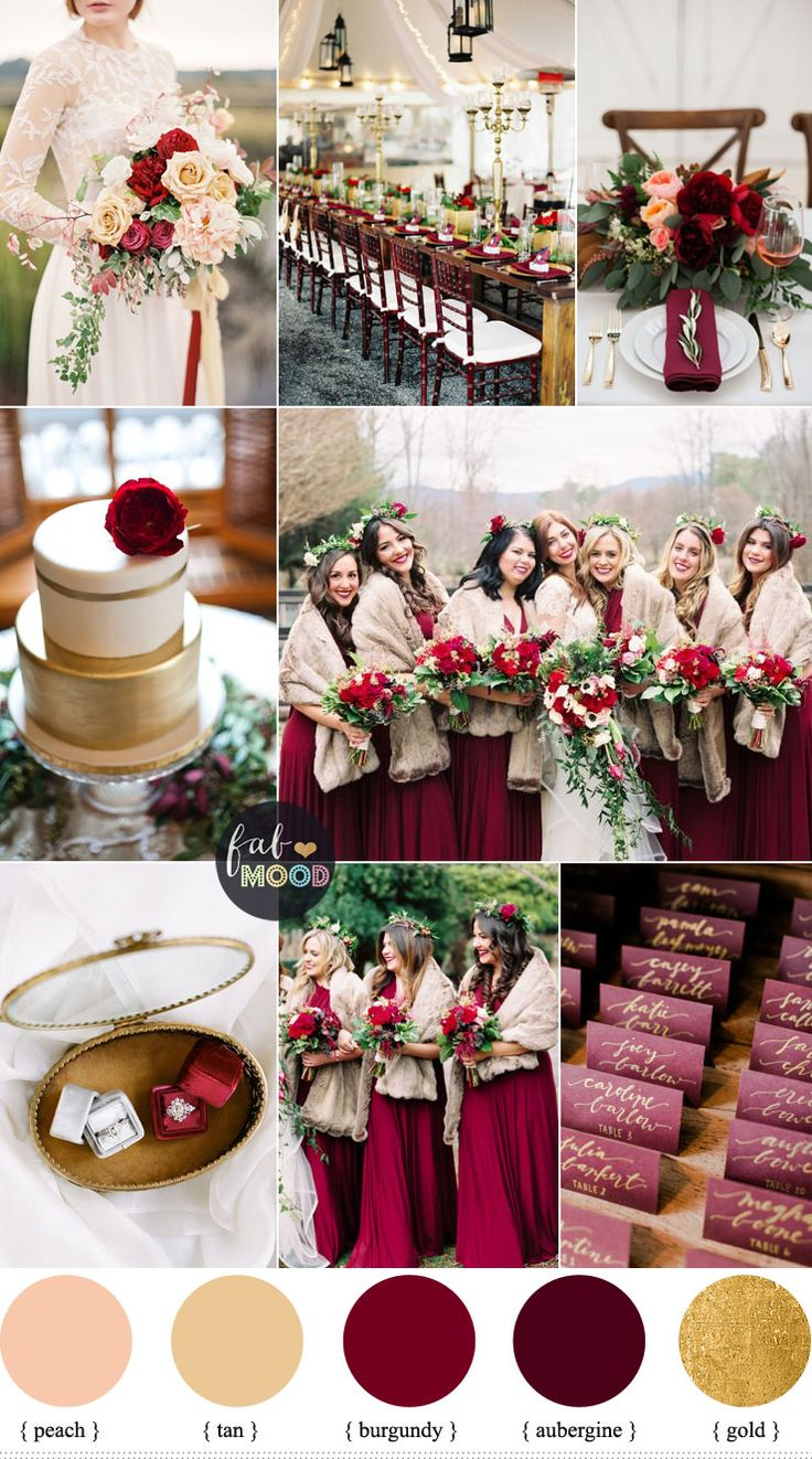 Aubergine and burgundy for Rustic Elegant Winter Wedding Inspiration - pair with peach and tan with a pop of gold to make the perfect winter wedding colour