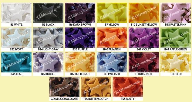 Star snaps! http://www.kamsnaps.com/Plastic-Snaps/Heart-Star-Snaps/Star-Snaps-p320.html