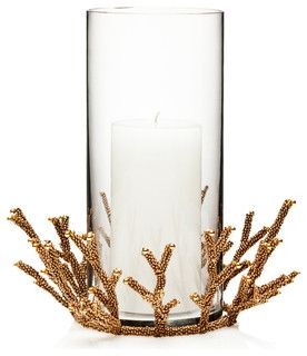 Golddust Bead Coral Small Hurricane - transitional - candles and candle holders - by Bliss Home and Design