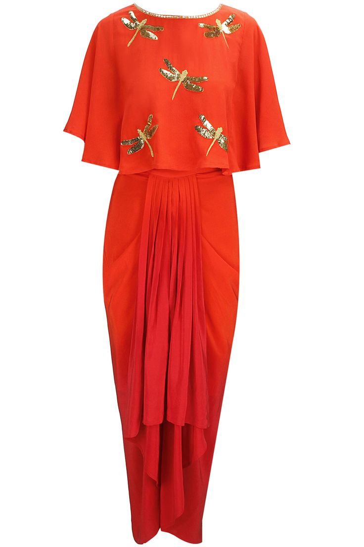 Dragonfly capelet with ombre dhoti skirt available only at Pernia's Pop-Up Shop. a burnt orange caplet with sequins and zari embroidery in dragonfly motifs.  It is paired with an ombre draped dhoti skirt.