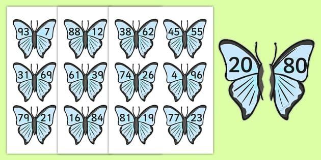 Number Bonds to 100 On Butterflies - minibeasts, numeracy, bonds