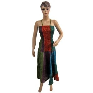 "Women Bohemian Tie Dye Stripes Printed Spaghetti Smocked Waist Cotton Maxi Dress 48"" (Apparel)  http://www.amazon.com/dp/B0086T677M/?tag=guimagtab-20  B0086T677M"