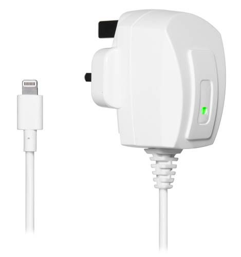 iPhone 5 White Travel Charger with 3Pin UK Plug (240V) (MFI Approved)..  Stylish and ergonomic MFI approved mains charger for iPhones and iPads. Its small and lightweight design makes it ideal as an extra charger at home, in the office or for travelling.  It has a built-in safety fuse and an LED indicator which will show that the device is charging.