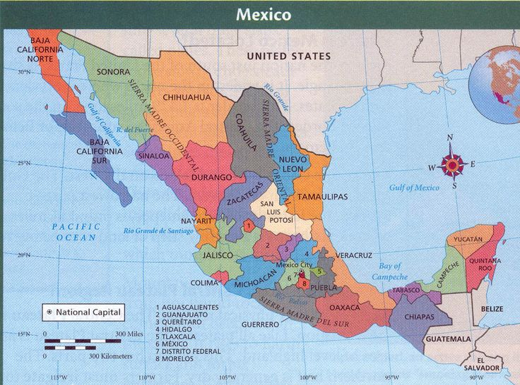 Map Of Mexico States And Major Cities A Thumbnail