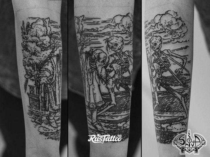 Фото татуировки Гравюра в стиле лайнворк   Татуировки на ...