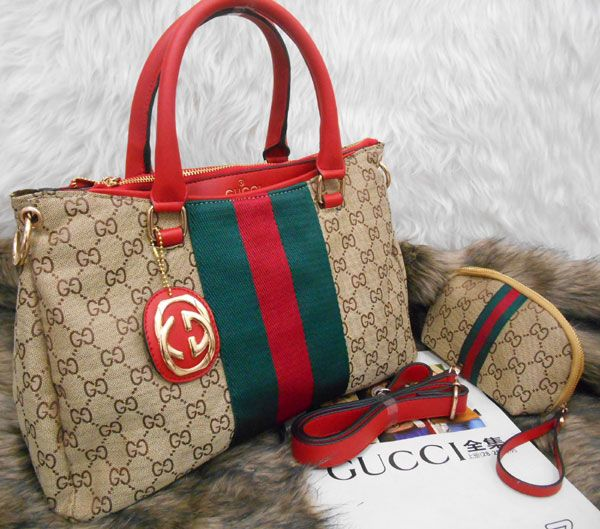 Tas Gucci Pallas 3Ruang warna merah