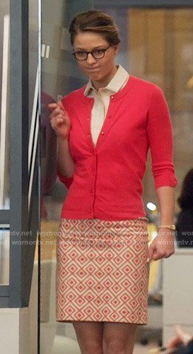 Kara's geometric print skirt and pink cardigan on Supergirl. Outfit Details: …