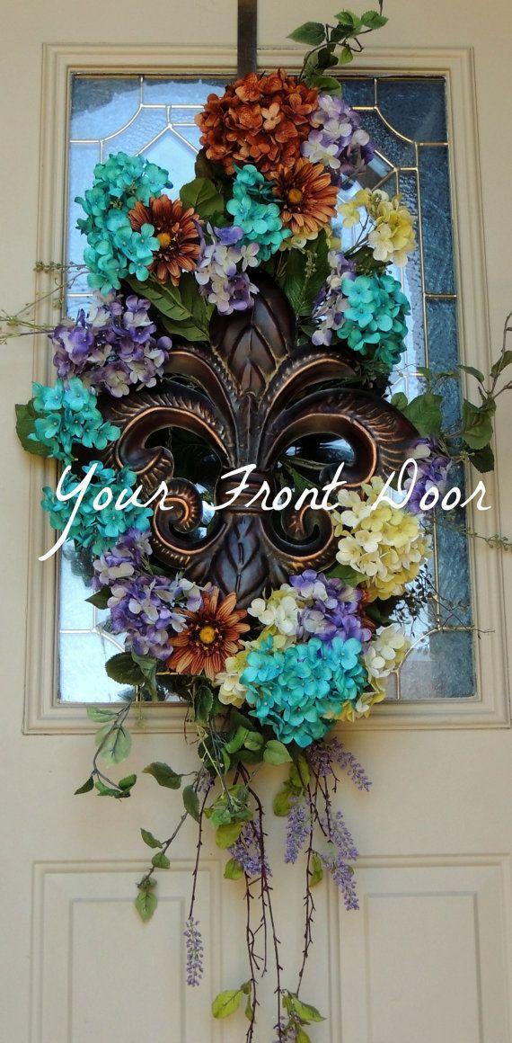 Hydrangea Swag - Fleur De Lis Swag - Fleur De Lis - Hydrangea - Wreath & 181 best Door Swags images on Pinterest | Door swag Fall swags ... pezcame.com
