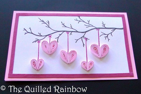 Express your love for that special someone with this beautiful card featuring 5 pretty quilled hearts hanging from a branch of tree. This card makes a perfect greeting card for various occasions like Birthday, Anniversary, Valentines Day, Mothers Day or a simple Thank You. Its a great card to express your love for that special person in your life. This listing is for one card as shown in the pictures. This card has been made with pink and white card stock. The hearts have been quilled using…
